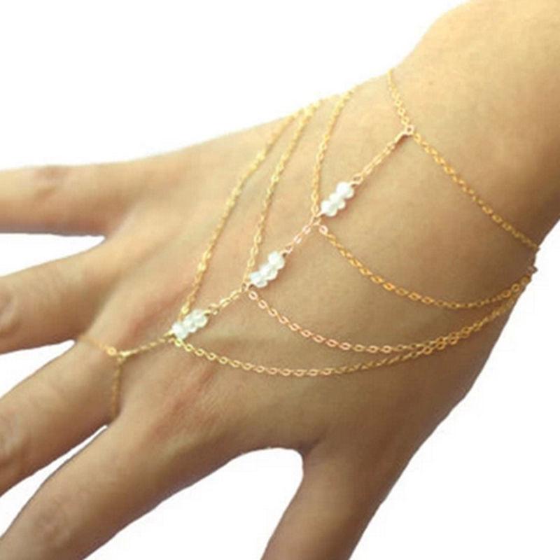 Pulseras de cadena y eslabones borla gran oferta dedo mano pulsera de arnés pulsera oro esclava celebridad Multi cadena mujer señora joyería