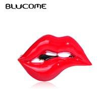 Blucome émail Sexy lèvres rouges bouche forme broches pour femmes filles rouge à lèvres sac robe Banquet accessoires alliage broche Corsage