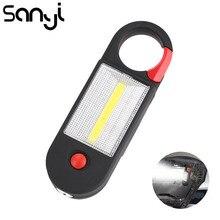 SANYI  COB LED Portable Light 2 Modes Camping Lamp 3*AAA Magnet Hook Handy Lantern for Car Repairing Fishing Hunting