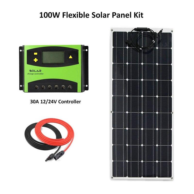 مجموعة مرنة لنظام الألواح الشمسية ، 100 واط ، وحدة تحكم بالطاقة الشمسية 30A LCD مع كابل