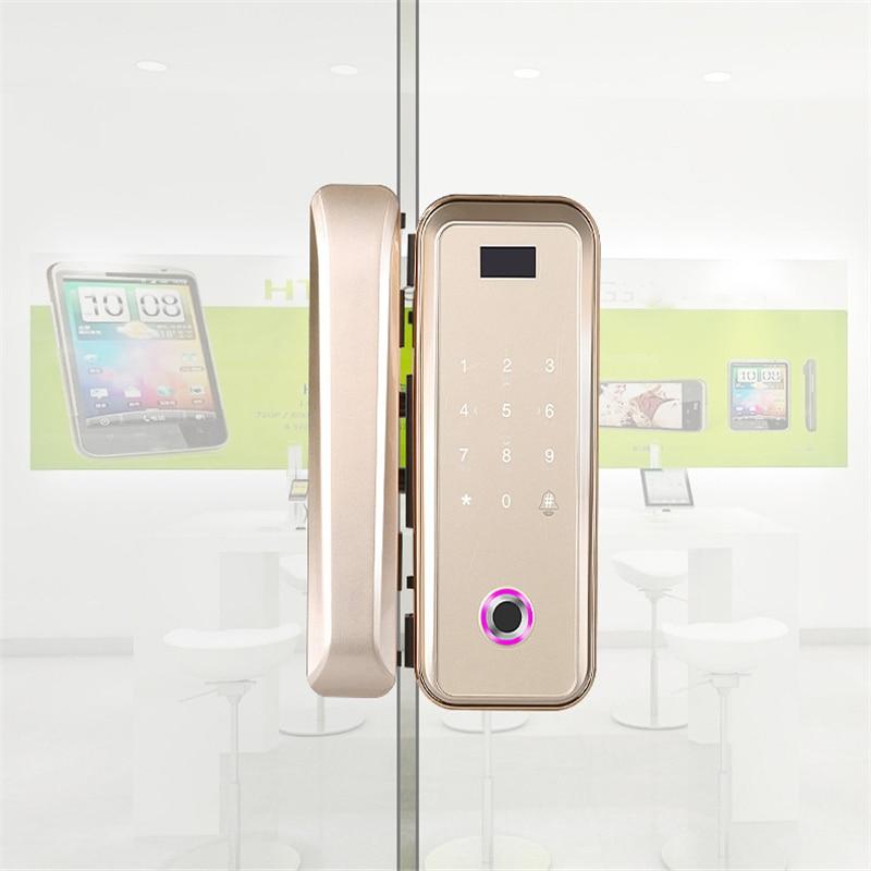 Glass Door Lock Office Keyless Electric Fingerprint Lock With Touch Keypad Smart Card Remote Control Key Home Smart Door Lock
