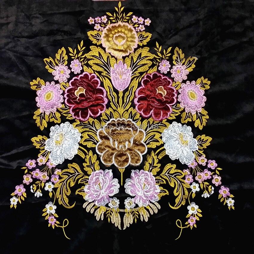 Diseño de ubicación Floral de Applique de lujo tapicería de terciopelo negro bordado tela sofá silla cojín tela se vende por 1 par