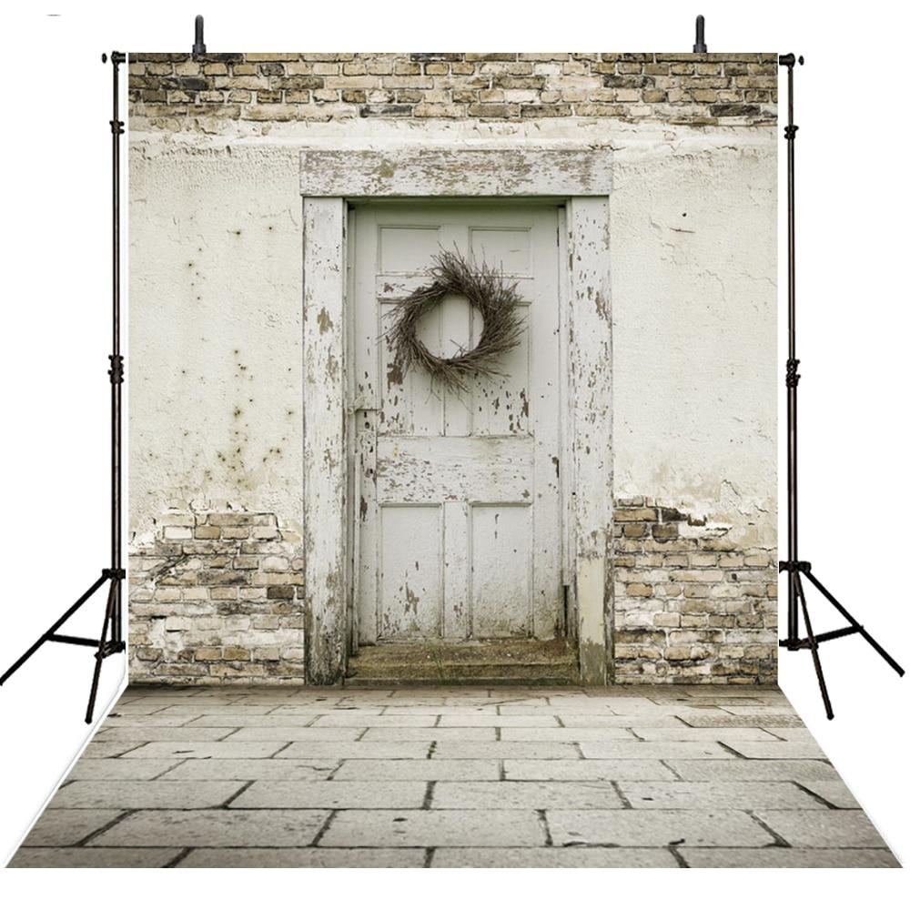 Фон для фотосъемки в стиле ретро с изображением деревянной двери из белого кирпича для фотостудии виниловые фоны для фотосъемки на заказ дл...