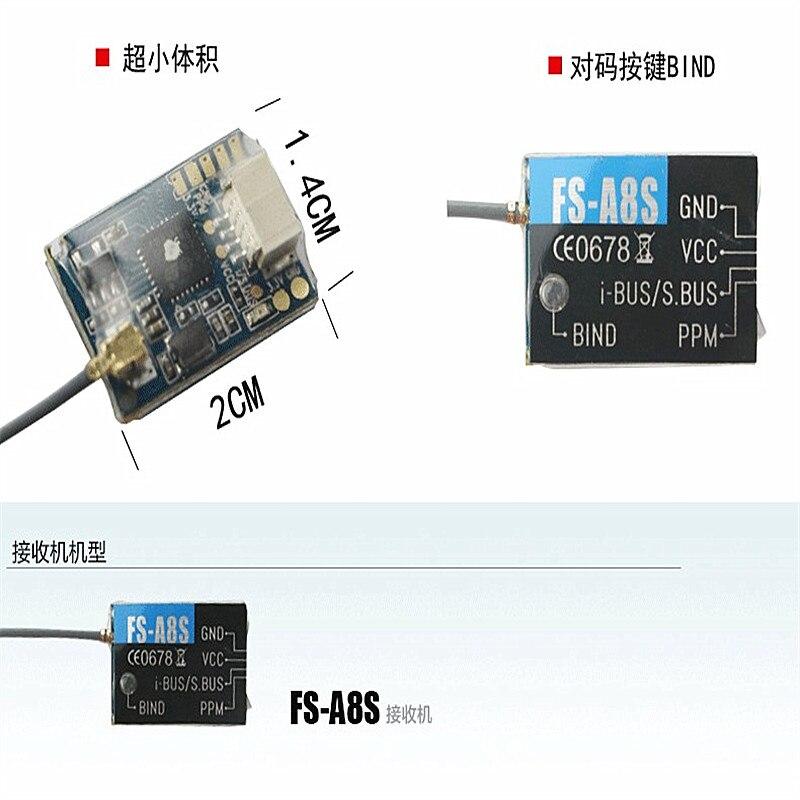 Newest Flysky FS-A8S FS A8S 2.4G PPM i-BUS SBUS 8CH Mini Receiver For Rc Quadcopter FS-I6X FS-i4 FS-i6 FS-i6S Transmitter enlarge