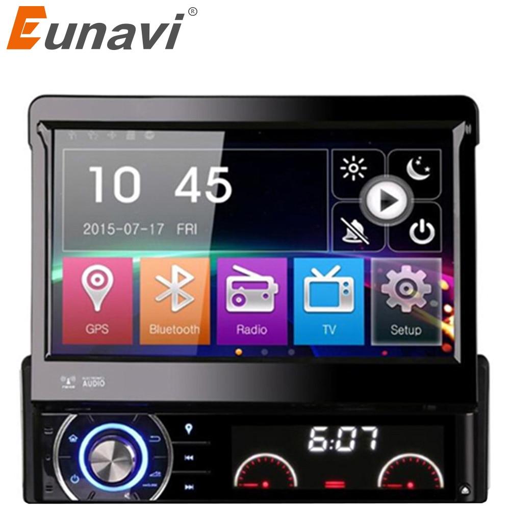"""Eunavi DK7090 7 """"solo 1 Din WCE reproductor de DVD del coche GPS navegación Universal dash Panel frontal desmontable Auto Radio audio estéreo"""