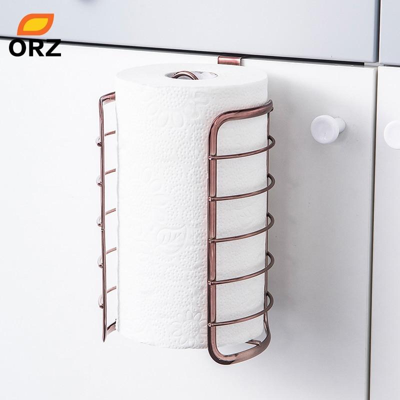 ORZ Rose Gold Kitchen Paper Holder Cabinet Door Hook Toilet Roll Paper Rack Kitchen Bathroom Accessories Home Office Decoration
