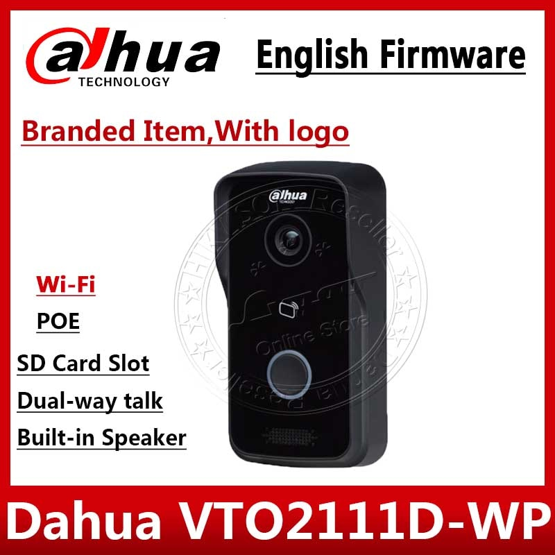 Dahua VTO2111D-WP versión en inglés P2P 1MP Wi-Fi intercomunicador de Video para chalet estacion al aire libre con logo no VTO2111D-W VTH1550CH