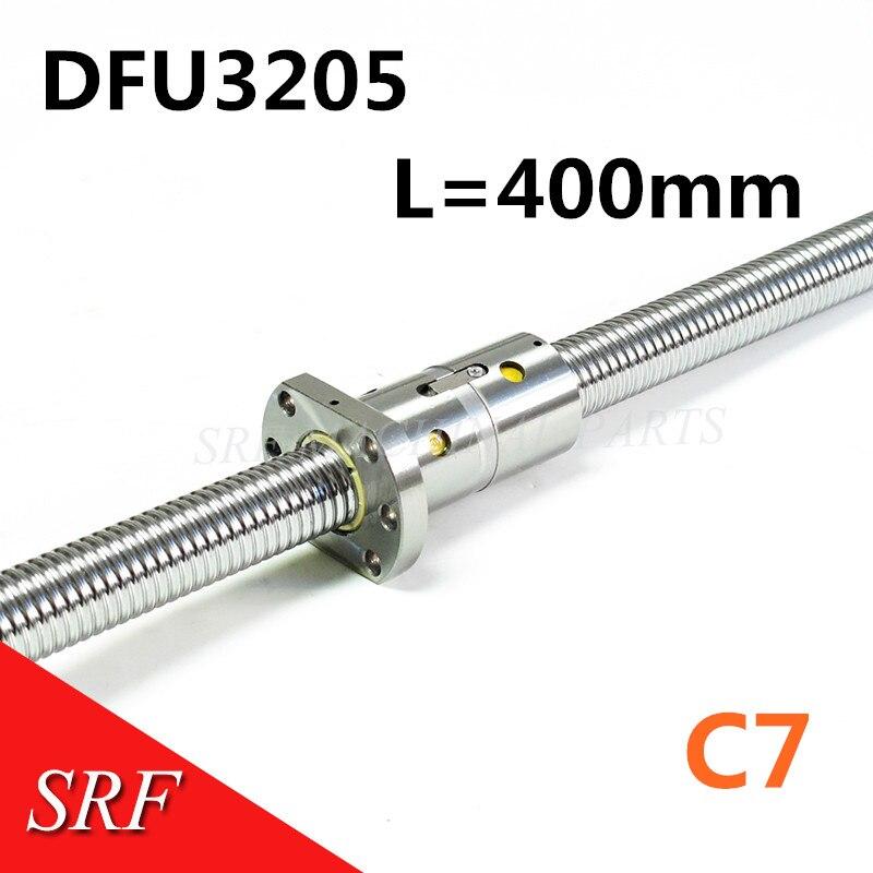C7 RM3205 32 milímetros Laminados Ballscrew 400 milímetros Parafuso da Esfera com DFU3205 porca Dupla bola no final usinado para CNC partes