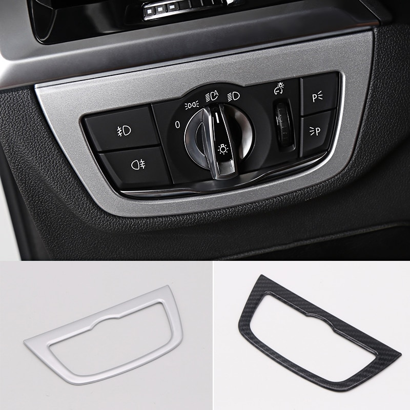 Para BMW X3 G01 2018 estilo mate/Interior de fibra de carbono cabeza botón de luz cubierta decorativa 2 *