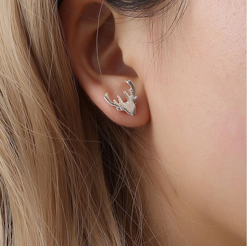 Mode minimaliste or et argent en acier inoxydable Animal mignon boucles doreilles petit cerf tête bijoux pour les femmes cadeaux