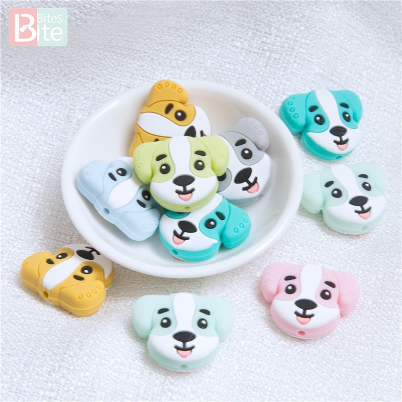 Bite Bites 20pc Silicone Beads Dog Baby Teething Tiny Rod Food Grade Silicone Rodent Puppy Cartoon Baby Goods Toys Make Teether недорого