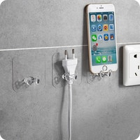 Home Storage Multi-Purpose Hooks 2pc Wall Storage Hook Power Plug Socket Holder Wall Adhesive Hanger Home Office 416