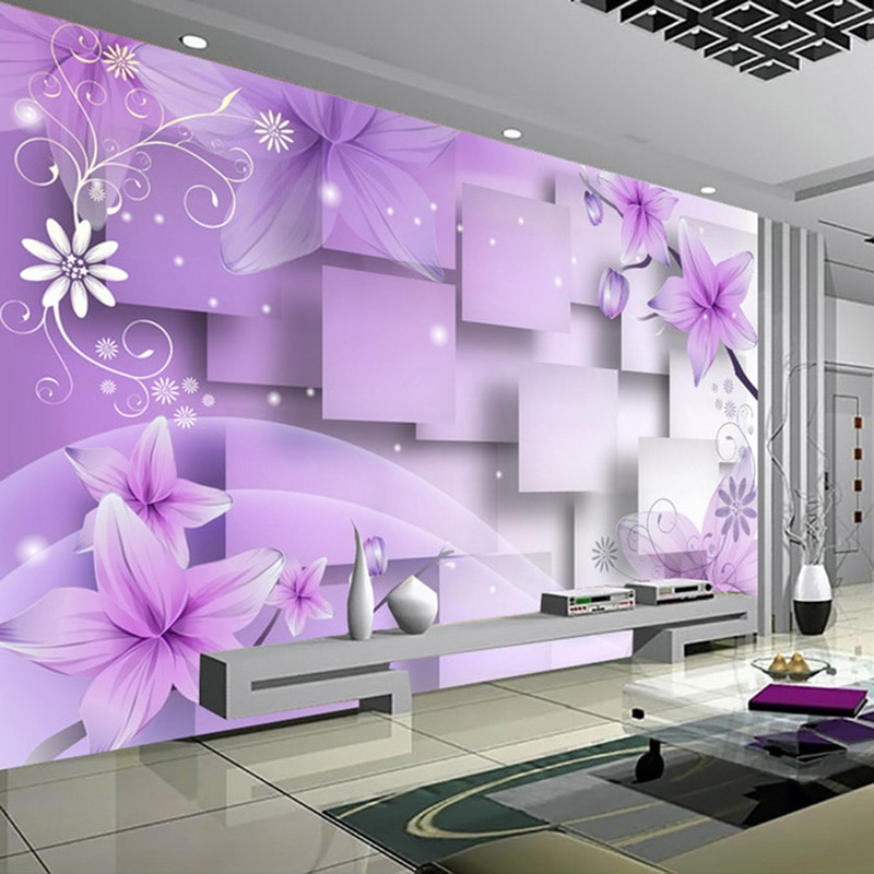 Papel pintado con foto 3D personalizado, pintura de pared artística abstracta moderna, flores púrpuras, Fondo para sala de estar, TV, decoración de pared del hogar, Mural de papel