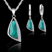 new elegant wedding jewelry sets 925 sterling silver crystal hoop earrings necklace set jewelry sets for women gifts