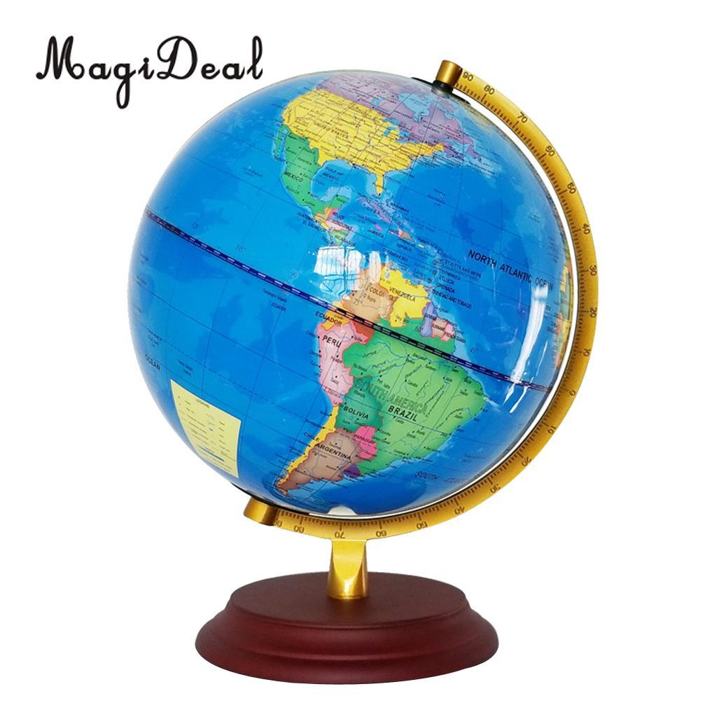 Винтажный светильник MagiDeal 23 см, деревянная основа, металлическая подставка, географическая карта мира, для дома, школы, офиса, украшения, син...