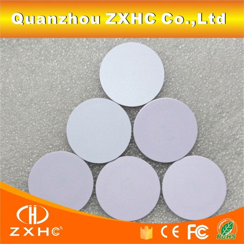 (10 unids/lote) 13,56 Mhz FM1108 (M1 S50) 25mm x 1m etiquetas impermeables RFID tarjetas de monedas inteligentes de PVC