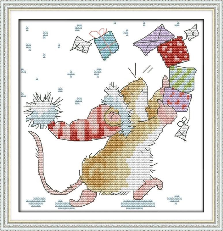 Набор вышитых букв «маленькая Мышка», 11CT 14CT, Китайская вышивка крестиком