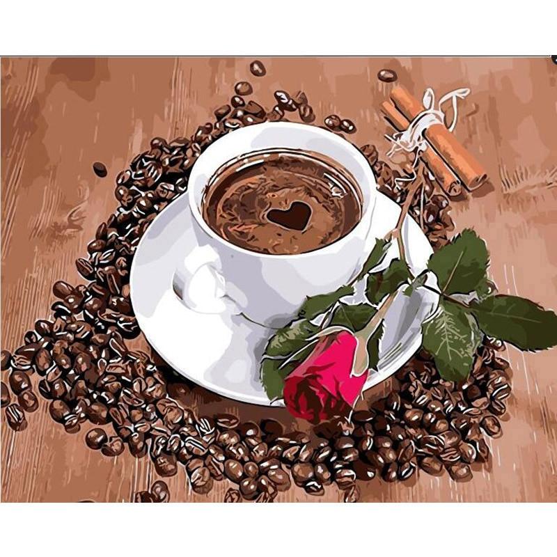 Café y Rose.40x50cm, pintura por números, bricolaje, arte de pared, decoración de sala de estar, paisaje, figura, Animal, flor, dibujos animados