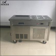 XEOLEO Frying Roll Ice cream maker 1800W Roll Ice cream Frier with 6 Buckets Stainless steel Roll Ice Fry machine Fry Ice maker