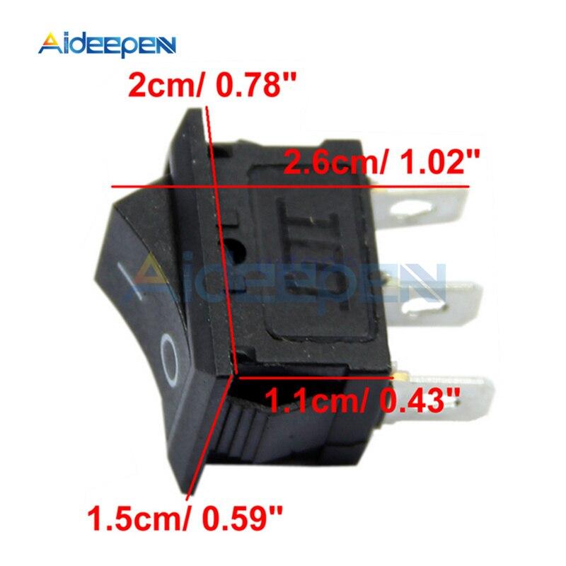 10 teile/los KCD1-102 3Pin Schwarz Taste Rocker Schalter AUF OFF AUF Mini 3 Position Boot Rocker Power Schalter AC 6A /250 V 10A/125 V
