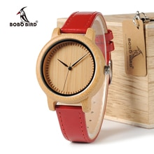 BOBO BIRD WJ09 Style Simple bambou femmes montre bambou cadran véritable rouge bracelet en cuir synthétique polyuréthane Quartz montres Relojes mujer accepter OEM