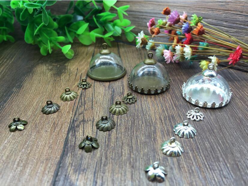 100 conjuntos 25mm plateado/bronce base DE bezels encontrar bandeja de borde de la corona con colgantes del vial de la cubierta de la cúpula de cristal collar de la joyería conjunto