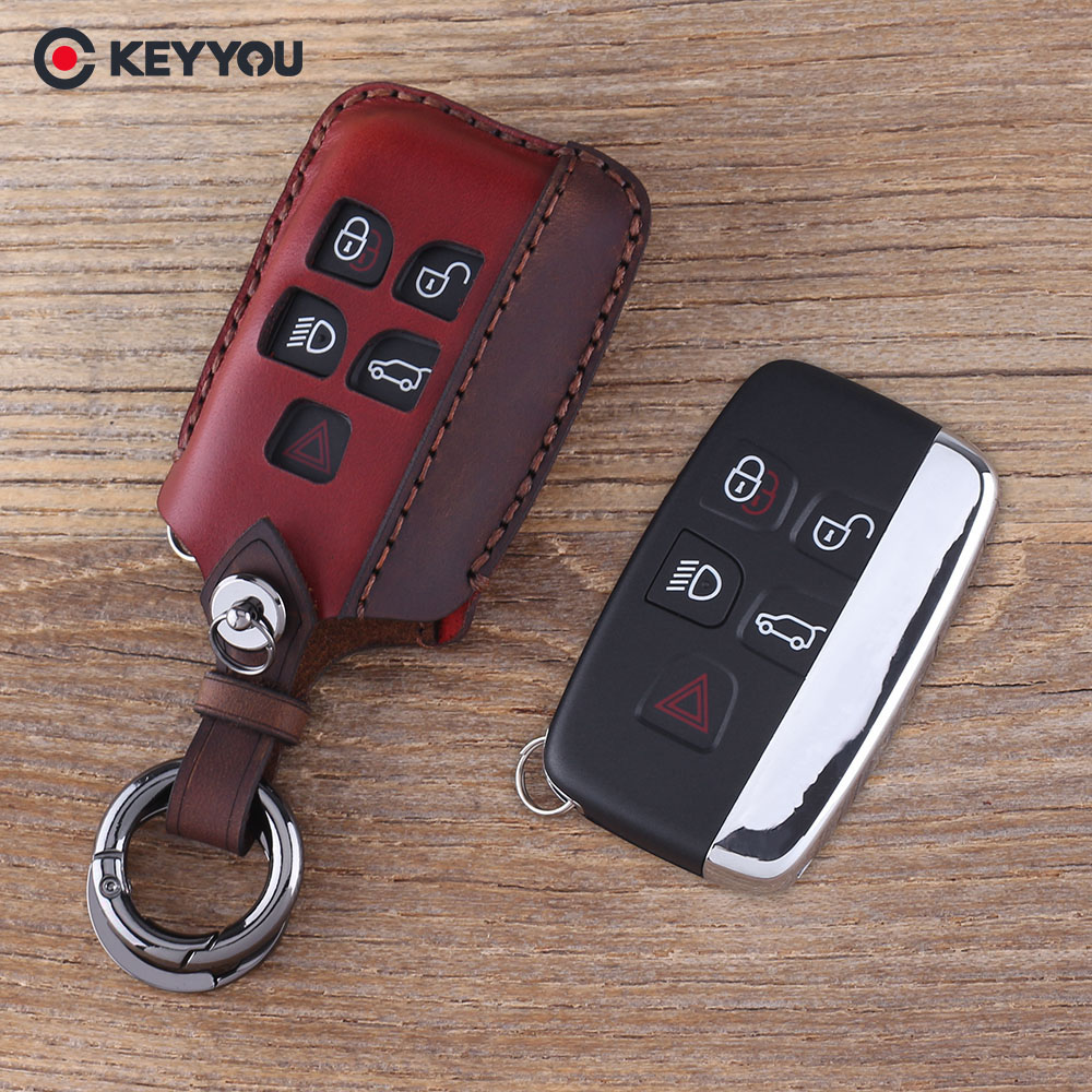 Чехол для ключей KEYYOU, брелок для автомобиля, брелок для Land Rover Range Rover Evoque, 4 5 кнопок, кожаный чехол для ключей