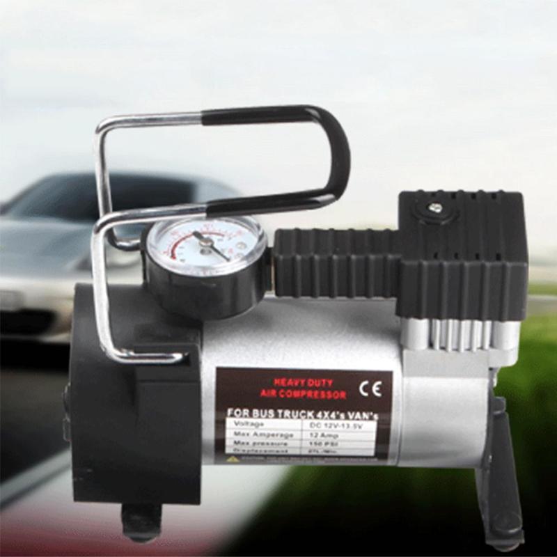 12V 150psi compresor de aire de alta resistencia de Metal portátil de lujo Inflador de neumáticos de coche encendedor de cigarrillos bomba inflable para neumáticos de coche