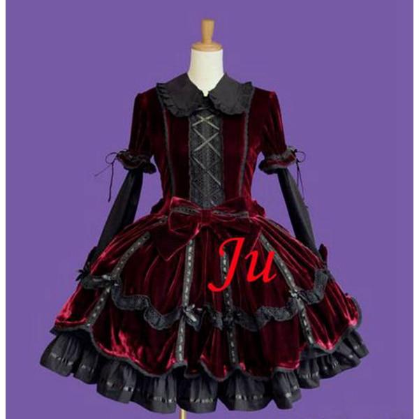 Sissy dama gótico Lolita Punk moda terciopelo vestido Cosplay traje hecho a medida [CK751]