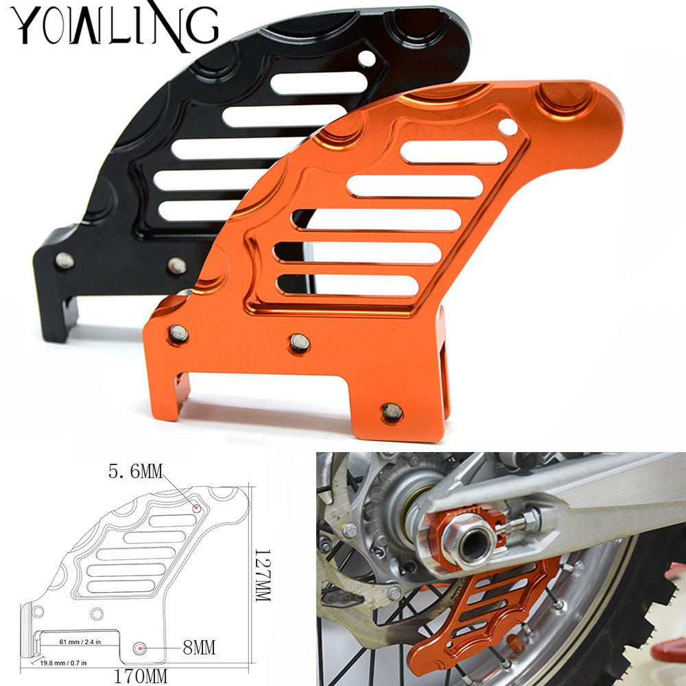Acessórios da motocicleta cnc alumínio disco de freio traseiro guarda potector para 250 xcw/xcfw 2006-2017 250 exc/excr 2003-2017