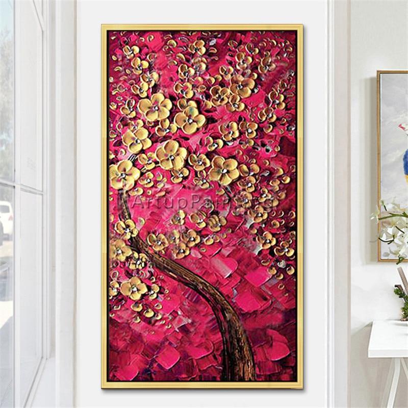 Paleta moderna pintada a mano cuchillo flor con textura 3D y árbol pintura al óleo sobre lienzo cuadros de pared para sala de estar decorativos 2