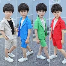 Summer Formal Kids Suit For Baby Boys Clothes Sets Gentleman Cotton Linen Teenage Casual Coat Vest Shorts 3pcs Children Clothing