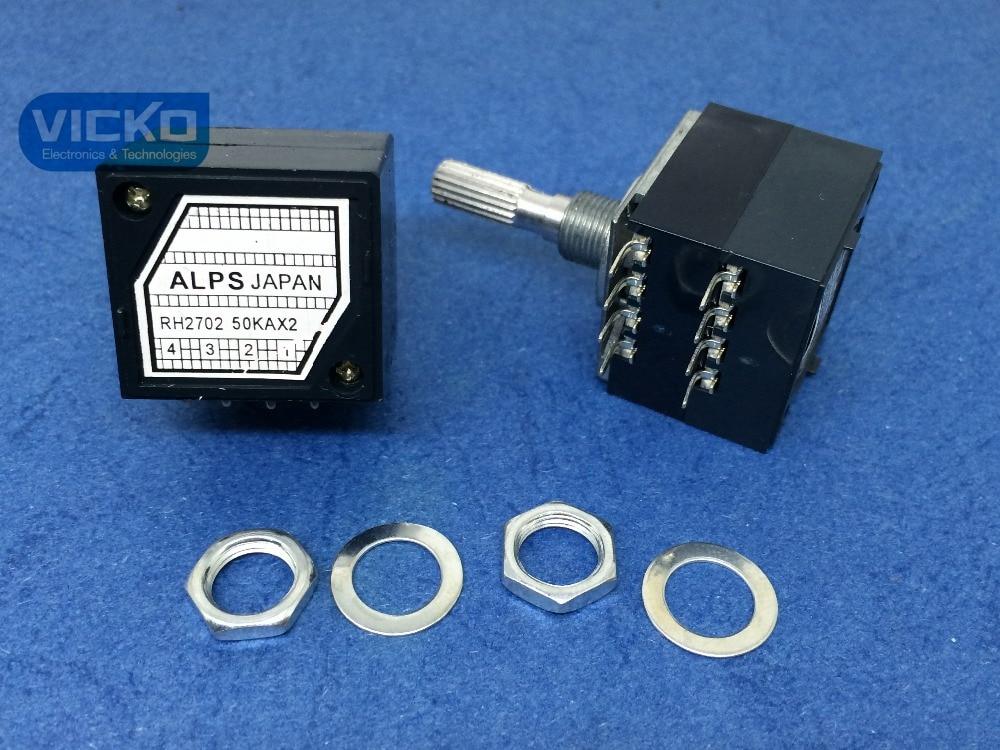 [VICKO]5pcs/lot! Japan Alps 27-type RH2702 50KAX2 50K 50KA A50K 8PIN with Loudness Potentiometer (switch)