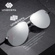 UNIEOWFA Male Rimless Aviation Sunglasses Men Polarized Silver Mirror Sports Eyewear UV400 Polaroid
