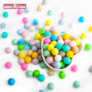 Keep&Grow BPA Free 10Pcs 12MM Silicone Beads Round Shaped Baby Teething Beads Food Grade Baby Teethers For DIY Necklace Making