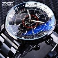 jaragar fashion luminous hands military sport design black stainless steel mens mechanical automatic wristwatch top brand luxury