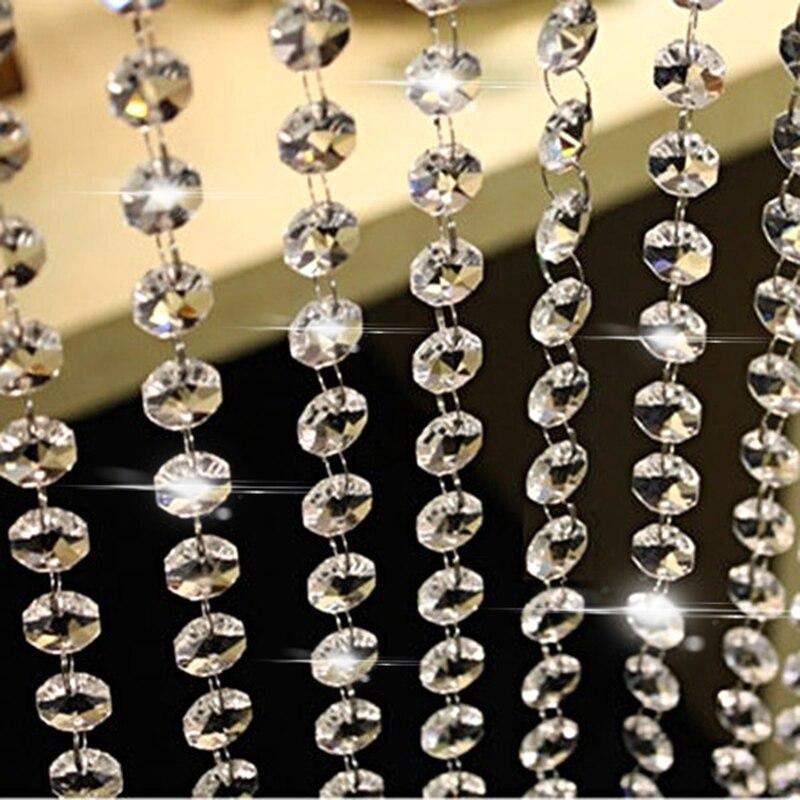 10m de cuentas de cristal acrílico transparente cortina guirnalda colgante cadena Navidad decoración para fiesta de boda decoración del hogar