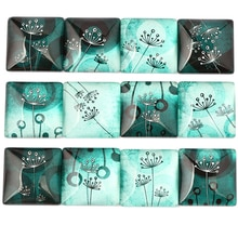 onwear mix dandelion photo square glass cabochon 12mm 15mm 20mm 25mm 30mm diy flat back handamde jewelry findings