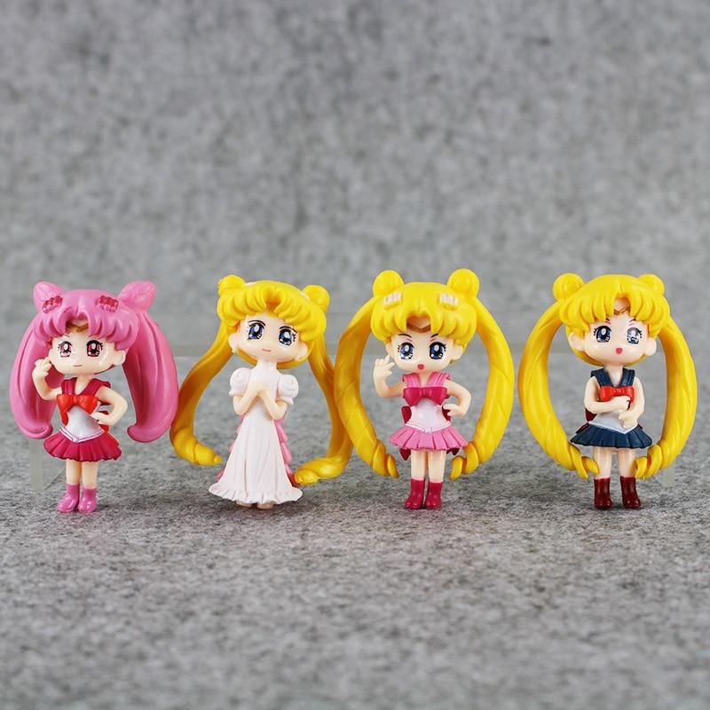 4 teile/los 6cm Anime Figur Sailor Mond Kristall Chiba Mamoru Minako Aino Q Version PVC Figuren Sammeln Modell Spielzeug puppen
