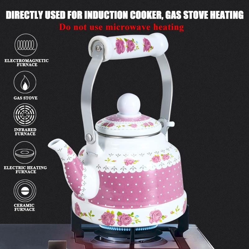 1.1L,1.7L .2.5L Household kettle Ceramic Handle Idyllic Water Kettle Portable Enamel Teapot Gas kettle