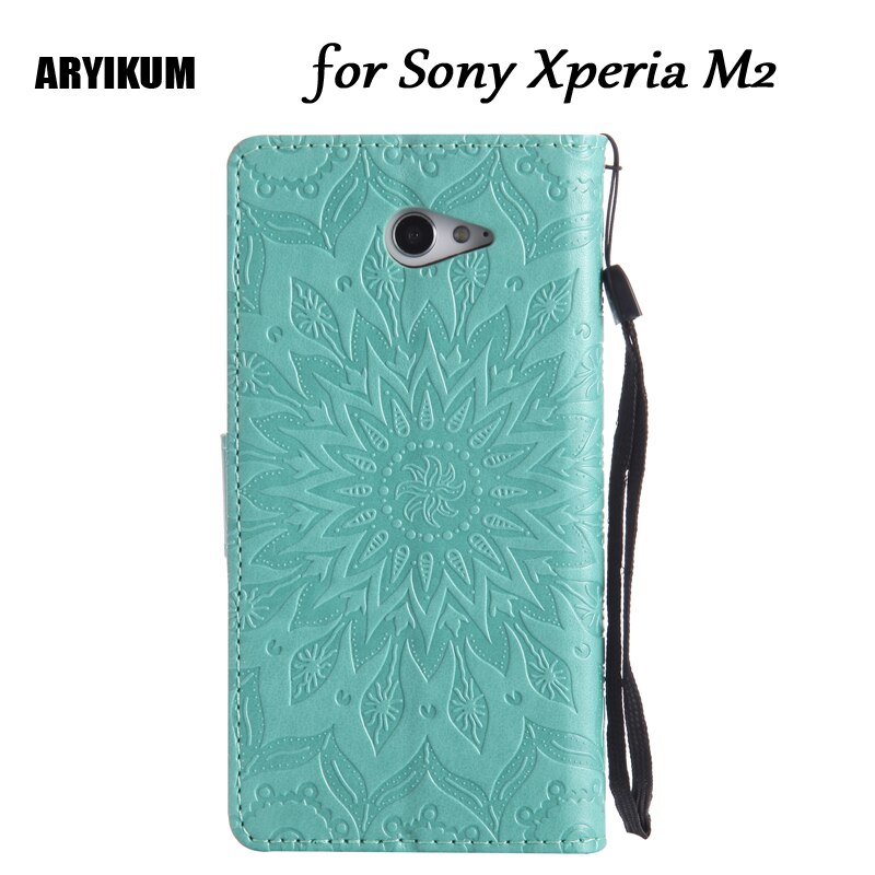 Fundas con tapa cartera para Sony Xperia M2 S50h Dual D2302 D2303 D2305 D2306 funda para Sony M2 Coque 3D patrón soporte con tarjetero