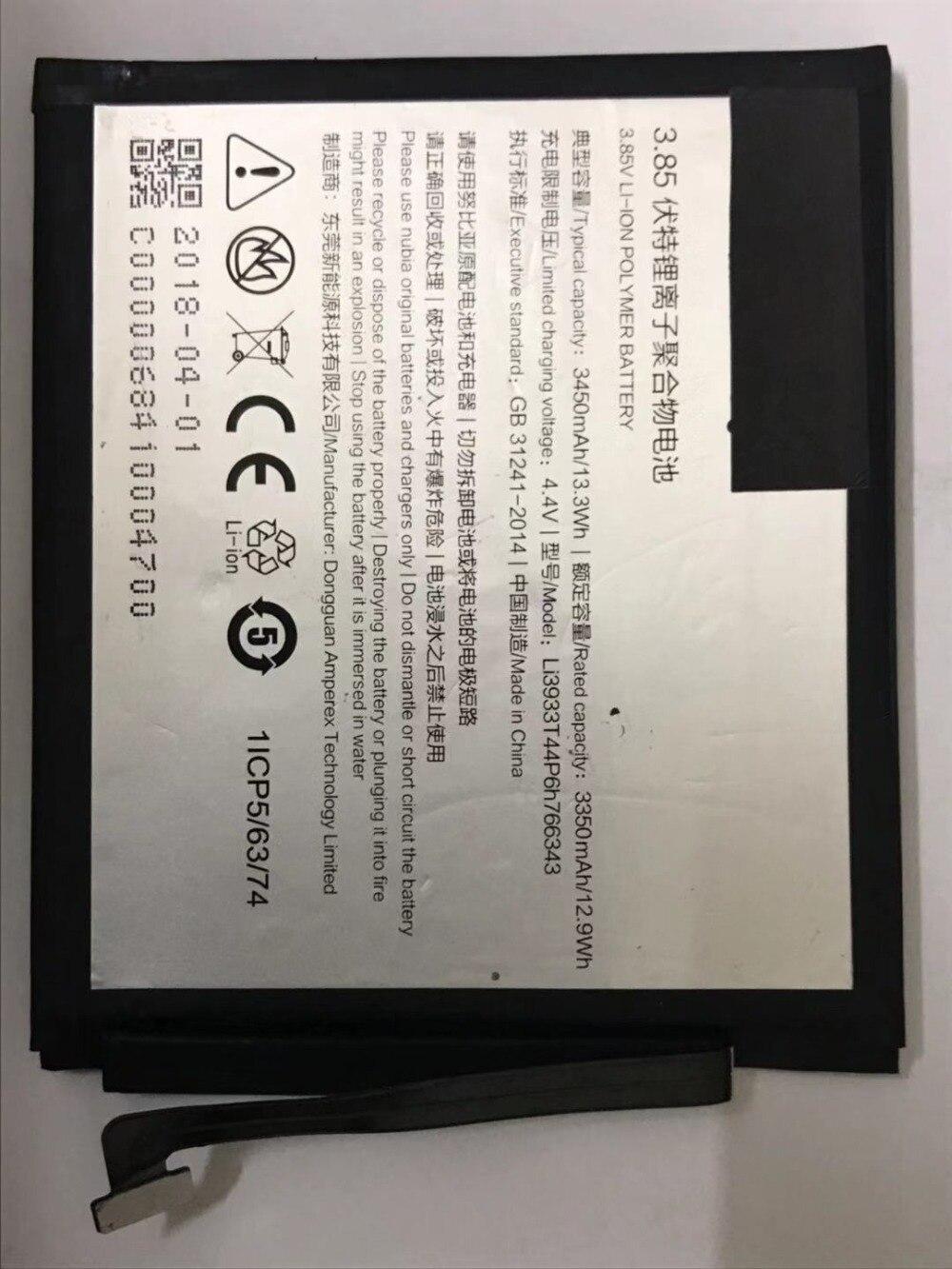 Аккумулятор для сотового телефона ZTE Nubia NX611J li3933t44p6h7766343 3450 мАч, Аксессуары для ZTE Nubia li3933t44p6h7766343 большой емкости 4060 мач li3940t44p6h876442 сменный аккумулятор для zte nubia z18 nx612j аккумуляторы для мобильных телефонов