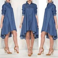 New Womens Blue Jeans Denim Pocket Long Sleeve T-shirt Loose Dress
