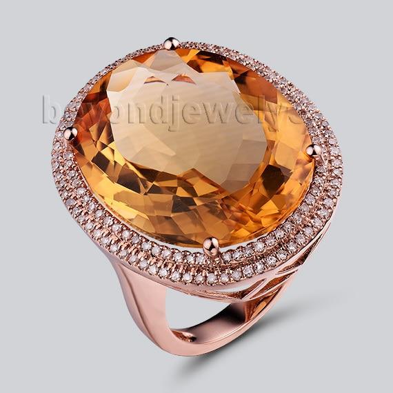 Lanmi natural citrino jóias genuíno citrino diamante anéis de noivado 14kt ouro rosa anel de casamento para venda r0014