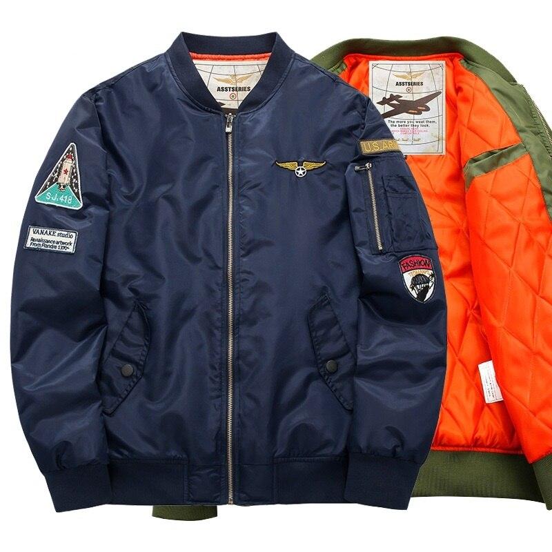 Chaqueta militar Ma1 gruesa de invierno verde militar de alta calidad 2019 Ma-1 piloto de la Fuerza Aérea de los hombres chaqueta de Bombardero