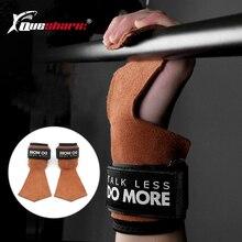 Skórzane rękawiczki do podnoszenia ciężarów bez palców wsparcie nadgarstka siłownia skórzane uchwyty do kierownicy Fitness trójbój siłowy Dumbell Crossfit Glove
