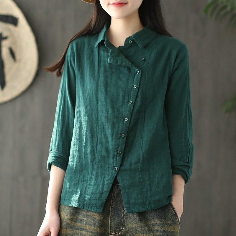Johnature, camisas de algodón, blusas clásicas, ropa de Color liso para mujer, camisas informales con botones de manga larga y cuello vuelto de primavera 2020