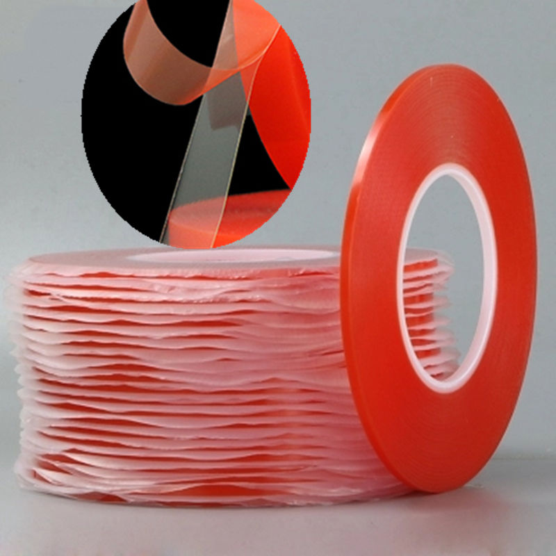 0,2 MM 1/2/3/5/10mm 50M Starke Acryl Kleber PET Rot Film klare Doppelseitigen Band Keine Spur Für Telefon Tablet LCD Screen Glas