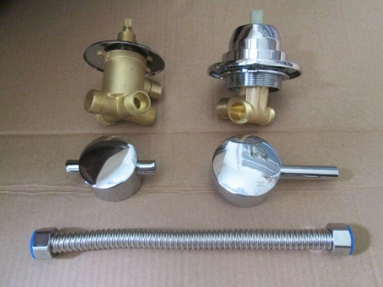 صنبور خلاط نحاسي لغرفة الاستحمام منفصل + أنبوب (يمكن أي طول) ، 3/4/5 مخرج مياه حمام دش صنبور خلط صمام مجموعة