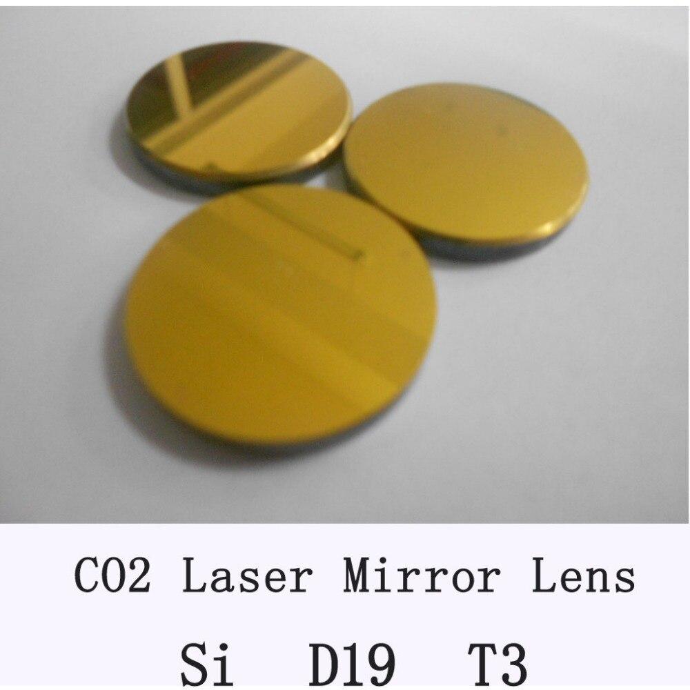 Freeshipping Alta Qualidade Si Espelho 3 pçs/lote Co2 diâmetro do espelho do laser 19mm, espessura 3mm